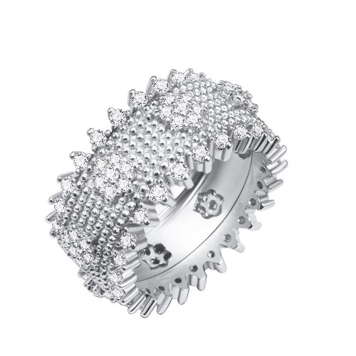 Rhodium Plated With Clear Cubic Zirconia Wide Band Rings