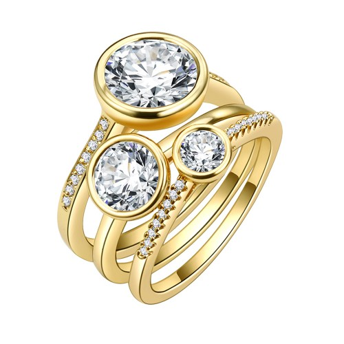 Gold Plated CZ 3 PCS Cocktail Ring Set