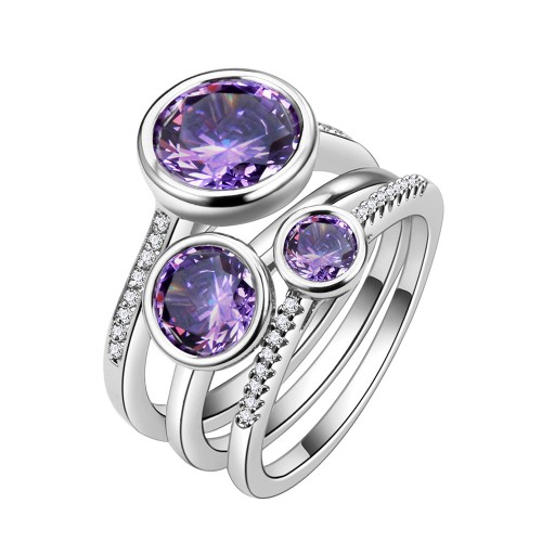 Violet Plated CZ 3 PCS Cocktail Ring Set