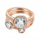 Rose Gold Plated CZ 3 PCS Cocktail Ring Set
