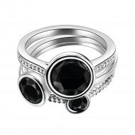Rhodium Plated Black Tone CZ 3 PCS Cocktail Ring Set
