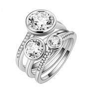 Rhodium Plated CZ 3 PCS Cocktail Ring Set
