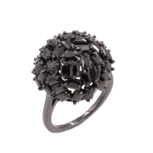 Black CZ Snow Ball Cocktail Statement Ring