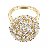 Gold Plated With CZ Snow Ball Cocktail Statement Ring