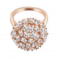 Rose Gold Plated With CZ Snow Ball Cocktail Statement Ring
