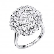 Rhodium Plated With CZ Snow Ball Cocktail Statement Ring
