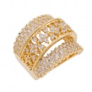 Rose Gold Plated With Clear Cubic Zirconia Statement Rings