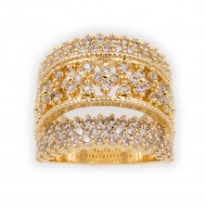 Gold Plated With Clear Cubic Zirconia Statement Rings