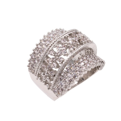 Rhodium Plated With Clear Cubic Zirconia Statement Rings