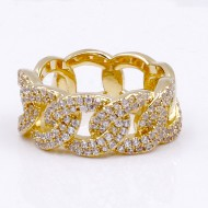 Gold Plated With CZ Pave Link Ring. Size 9