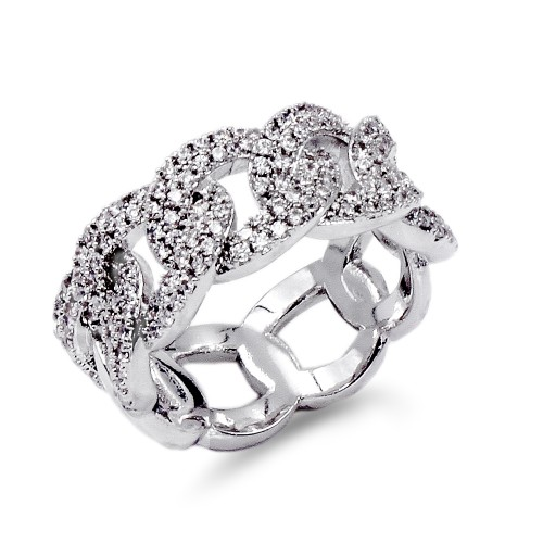 Rhodium Plated With CZ Pave Link Ring. Size 6