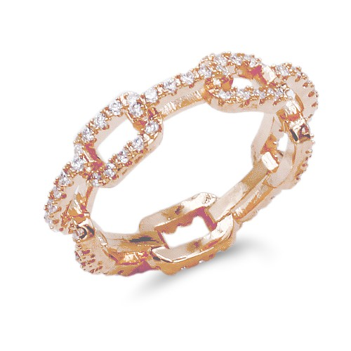 Rose Gold Plated With CZ Pave Link Ring. Size 9