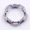 Rhodium Plated With CZ Pave Link Ring. Size 9