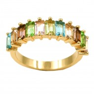 Gold Plated With Multi Color Cubic Zirconia Everyday Rings
