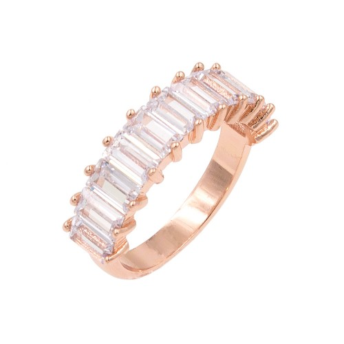 Rose Gold Plated With Clear Cubic Zirconia Everyday Rings