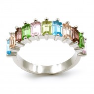 Rhodium Plated With Multi Color Cubic Zirconia Everyday Rings