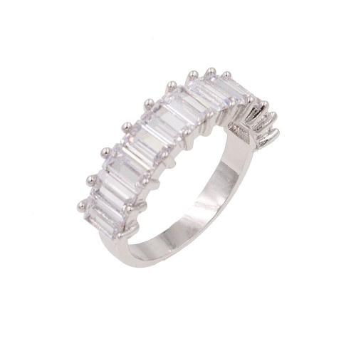 Rhodium Plated With Clear Cubic Zirconia Everyday Rings