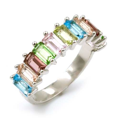 Rhodium Plated With Multi Color CZ Cubic Zirconia Rings