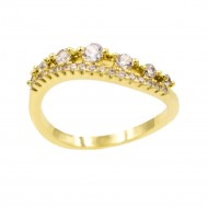 Gold Plated With Clear Cubic Zirconia Engagement Rings
