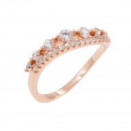 Rose Gold Plated With Clear Cubic Zirconia Engagement Rings