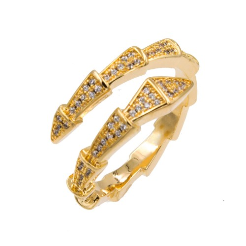 Gold Plated With Cubic Zirconia Snake Adjustable Rings