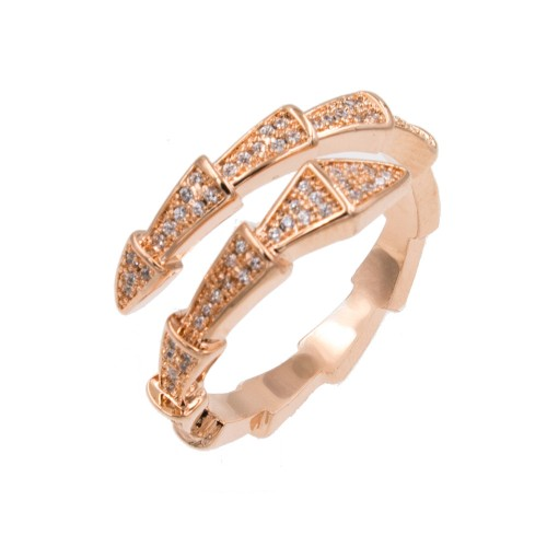 Rose Gold Plated With Cubic Zirconia Snake Adjustable Rings