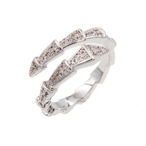 Rhodium Plated With Cubic Zirconia Snake Adjustable Rings