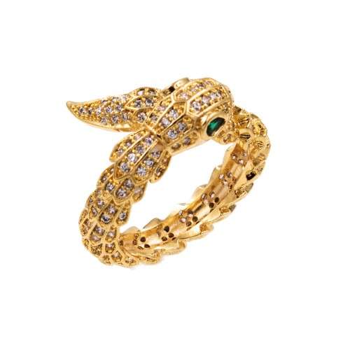 Gold Plated with CZ Cubic Zirconia Snake Sized Rings