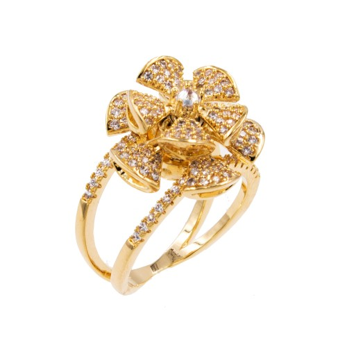 Gold Plated With Cubic Zirconia Spin Flower Sized Rings