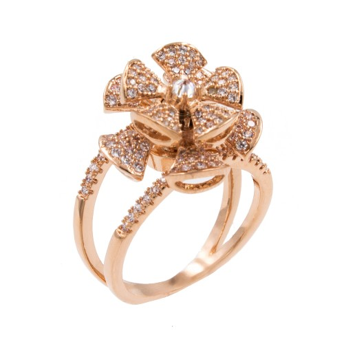 Rose Gold Plated With Cubic Zirconia Spin Flower Sized Rings