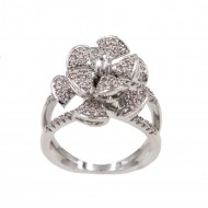 Rhodium Plated With Cubic Zirconia Spin Flower Sized Rings
