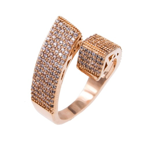Rose Gold Plated With Clear Cubic Zirconia Adjustable Ring