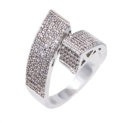 Rhodium Plated With Clear Cubic Zirconia Adjustable Ring
