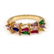 Gold Plated With Multi Color CZ Cubic Zirconia Sized Rings