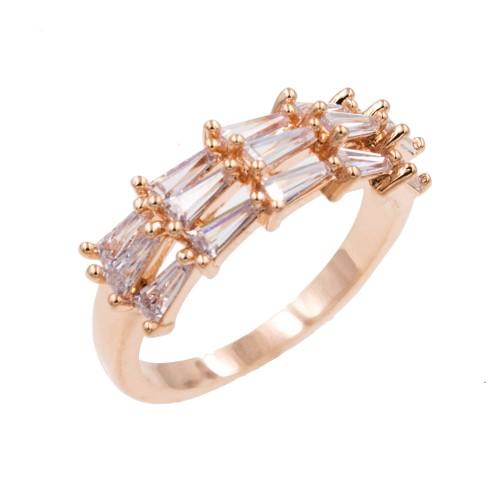 Rose Gold Plated With Clear Cubic Zirconia Sized Rings