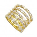 Gold Plated With 5 Row CZ Cubic Zirconia Statement Sized Rings