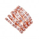 Rose Gold Plated With 5 Row CZ Cubic Zirconia Statement Sized Rings