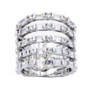 Rhodium Plated With 5 Row CZ Cubic Zirconia Statement Sized Rings