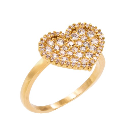 Gold Plated With Clear Cubic Zirconia Heart Adjustable Rings