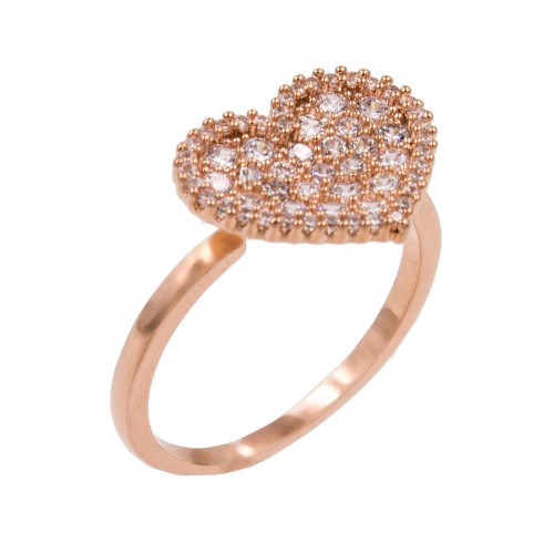 Rose Gold Plated With Clear Cubic Zirconia Heart Adjustable Rings