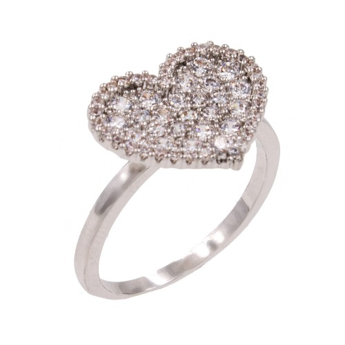 Rhodium Plated With Clear Cubic Zirconia Heart Adjustable Rings