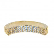 Gold Plated With Clear CZ Cubic Zirconia Wave Sized Rings