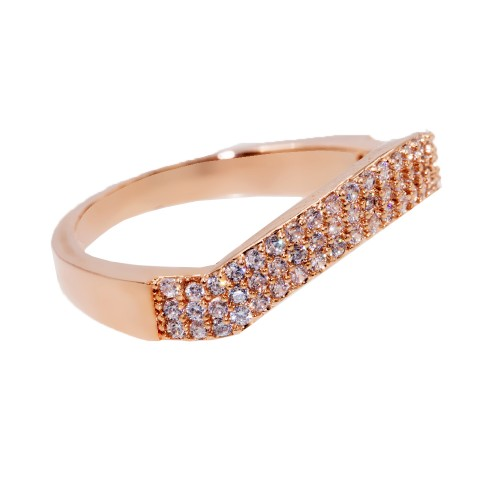 Rose Gold Plated With Clear CZ Cubic Zirconia Wave Sized Rings