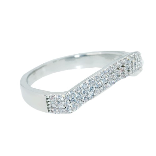 Rhodium Plated With Clear CZ Cubic Zirconia Wave Sized Rings