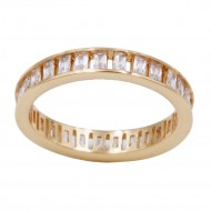 Gold Plated With Clear Cubic Zirconia Eternity Band Sized Rings