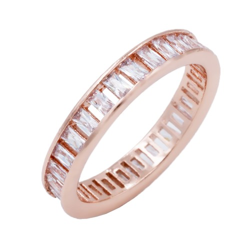 Rose Gold Plated with Clear CZ Cubic Zirconia Eternity Band Sized Rings