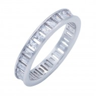 Rhodium Plated With Clear CZ Cubic Zirconia Eternity Band Sized Rings