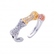 3-Tone Plated With CZ Cubic Zirconia Cocktails Adjustable Rings
