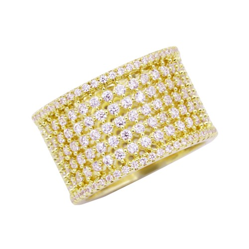 Gold Plated With Cubic Zirconia Wide Eternity Band Sized Rings