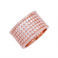 Rose Gold Plated With CZ Cubic Zirconia Wide Eternity Band Sized Rings